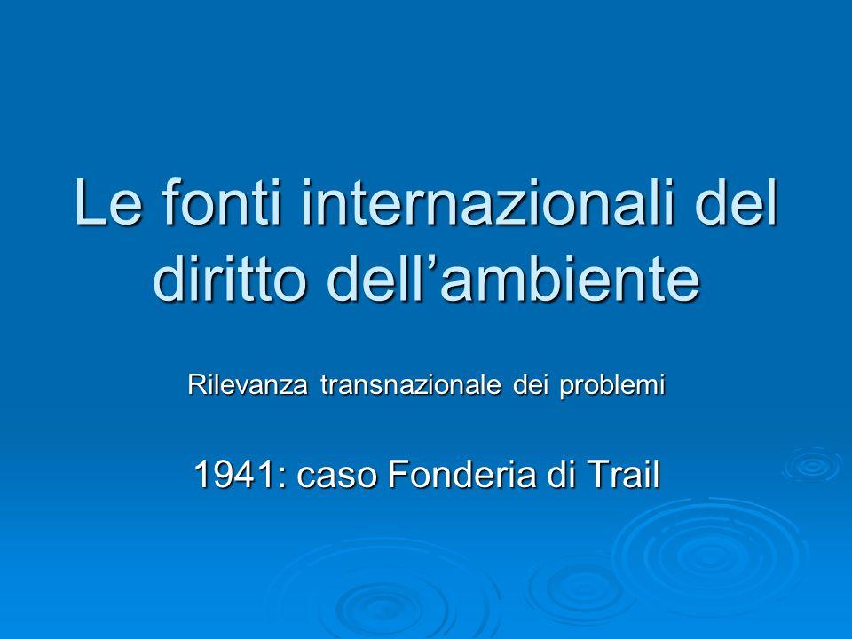 Le fonti internazionali del diritto dellambiente Rilevanza transnazionale dei problemi 1941: caso Fonderia di Trail