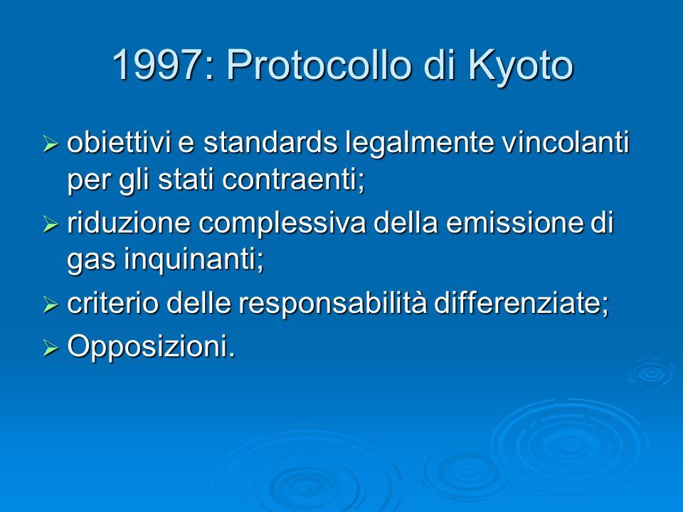 1997: Protocollo di Kyoto obiettivi e standards legalmente vincolanti per gli stati contraenti; obiettivi e standards legalmente vincolanti per gli st