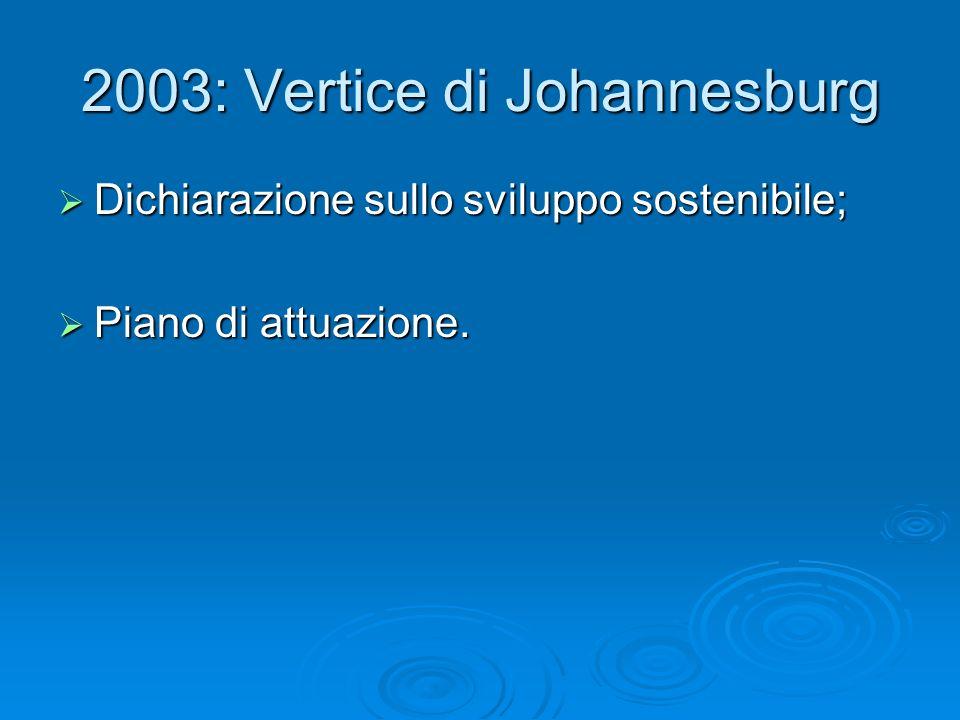 2003: Vertice di Johannesburg Dichiarazione sullo sviluppo sostenibile; Dichiarazione sullo sviluppo sostenibile; Piano di attuazione. Piano di attuaz