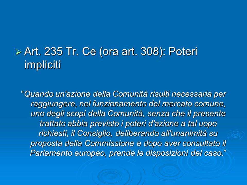 Art. 235 Tr. Ce (ora art. 308): Poteri impliciti Art. 235 Tr. Ce (ora art. 308): Poteri impliciti Quando un'azione della Comunità risulti necessaria p