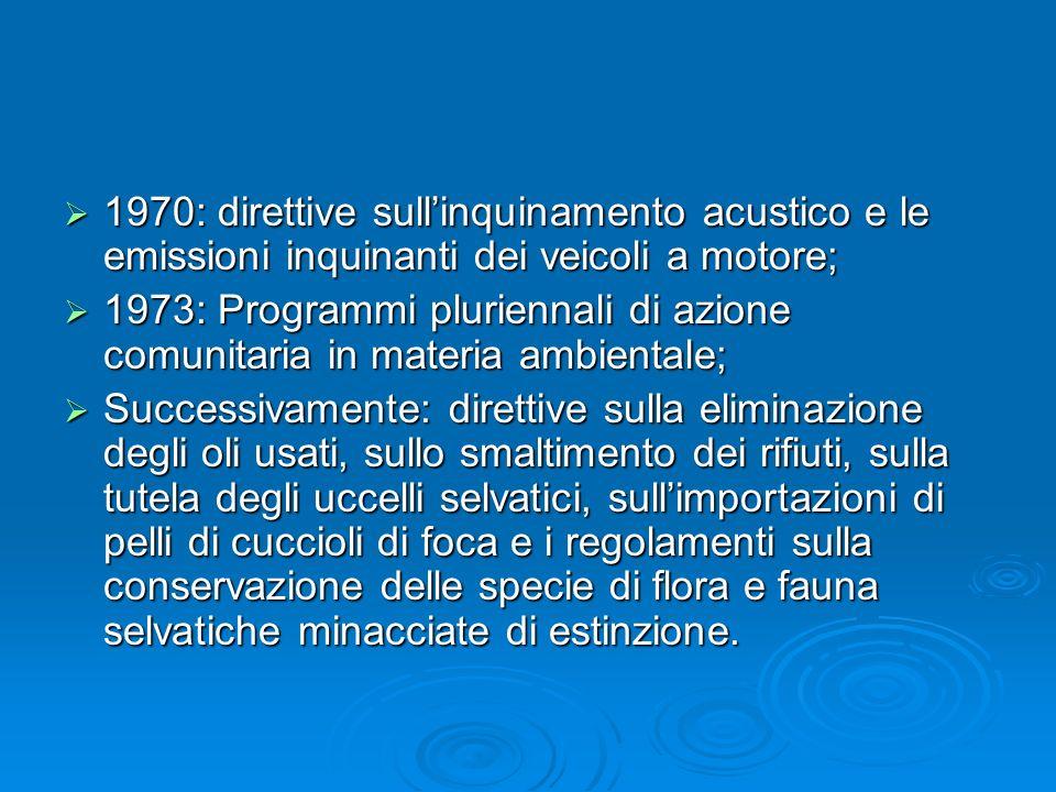 1970: direttive sullinquinamento acustico e le emissioni inquinanti dei veicoli a motore; 1970: direttive sullinquinamento acustico e le emissioni inq