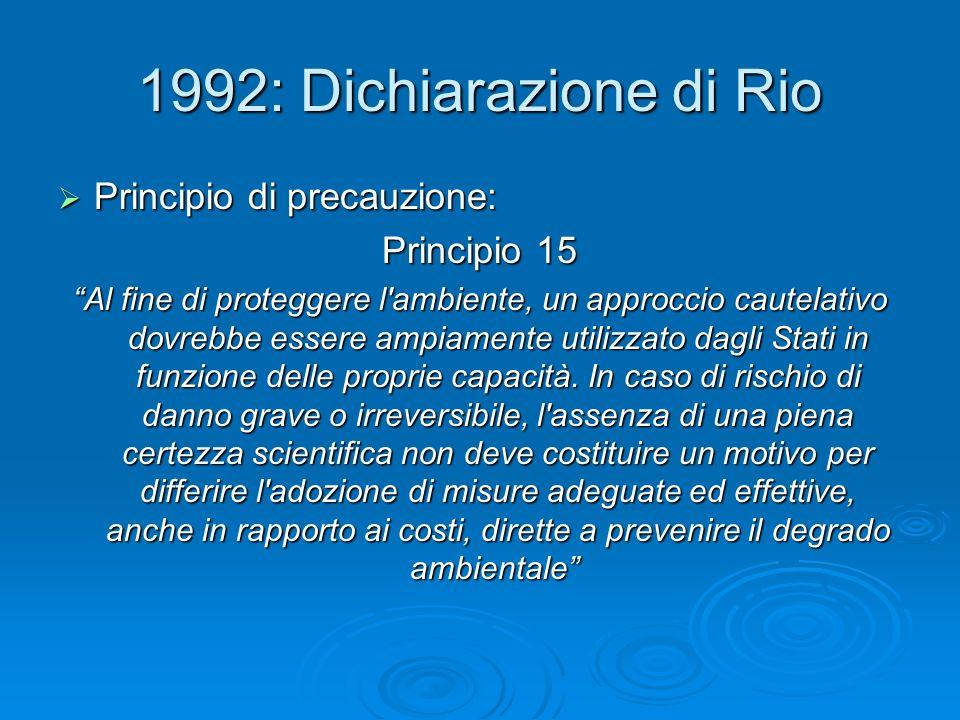 1992: Dichiarazione di Rio Principio di precauzione: Principio di precauzione: Principio 15 Al fine di proteggere l'ambiente, un approccio cautelativo