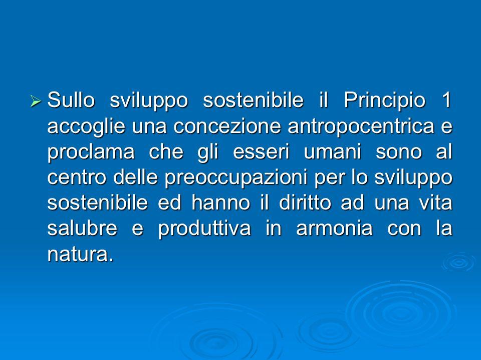 Sullo sviluppo sostenibile il Principio 1 accoglie una concezione antropocentrica e proclama che gli esseri umani sono al centro delle preoccupazioni