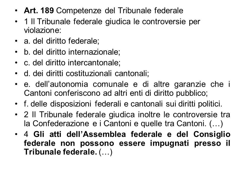 Art. 189 Competenze del Tribunale federale 1 Il Tribunale federale giudica le controversie per violazione: a. del diritto federale; b. del diritto int