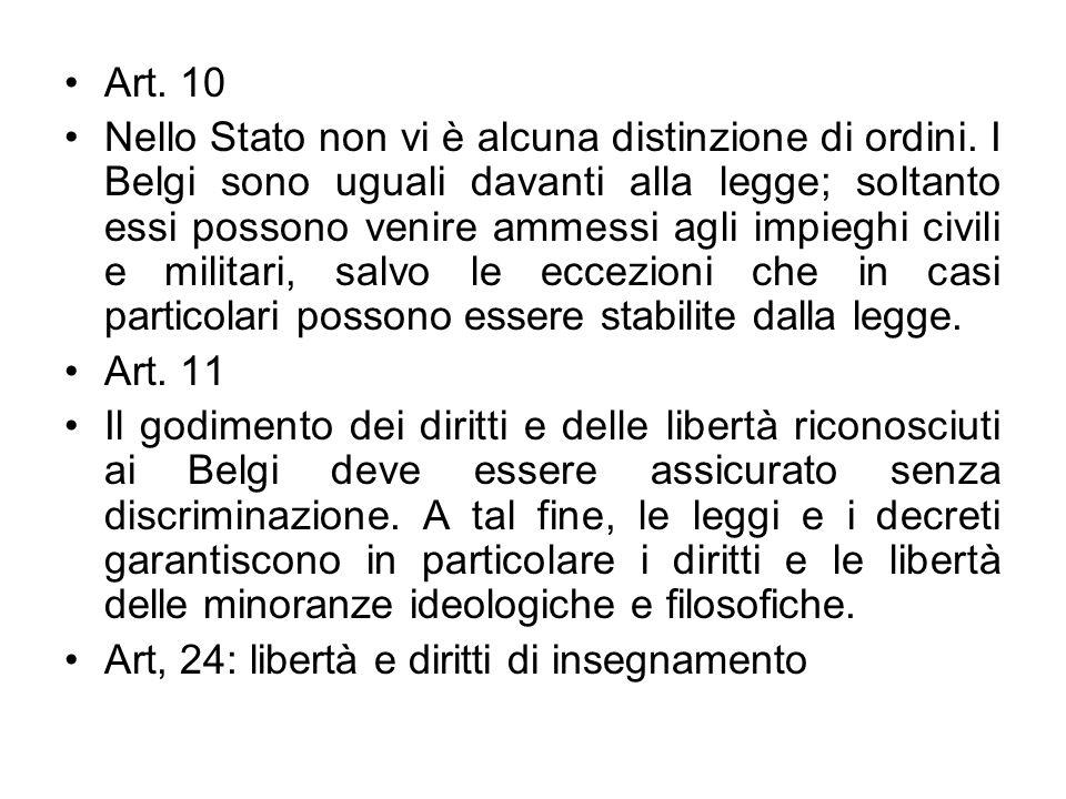 Art. 10 Nello Stato non vi è alcuna distinzione di ordini. I Belgi sono uguali davanti alla legge; soltanto essi possono venire ammessi agli impieghi