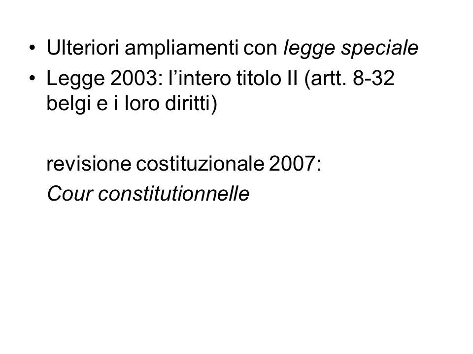 Ulteriori ampliamenti con legge speciale Legge 2003: lintero titolo II (artt. 8-32 belgi e i loro diritti) revisione costituzionale 2007: Cour constit