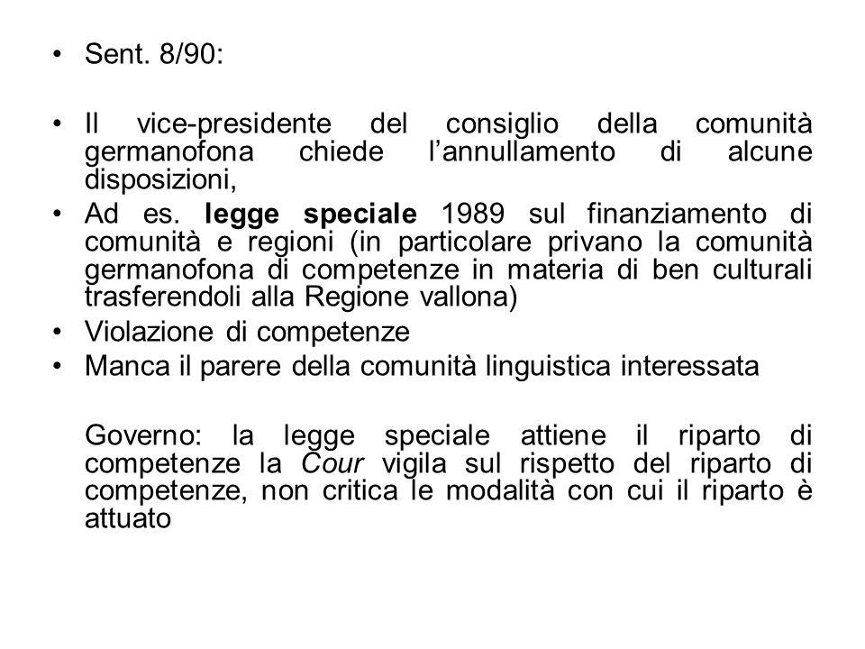 Sent. 8/90: Il vice-presidente del consiglio della comunità germanofona chiede lannullamento di alcune disposizioni, Ad es. legge speciale 1989 sul fi