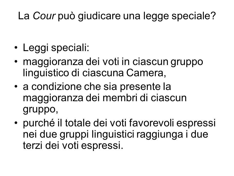 La Cour può giudicare una legge speciale? Leggi speciali: maggioranza dei voti in ciascun gruppo linguistico di ciascuna Camera, a condizione che sia