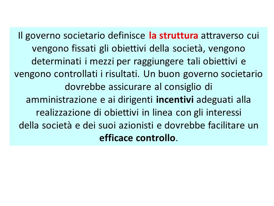 Il governo societario definisce la struttura attraverso cui vengono fissati gli obiettivi della società, vengono determinati i mezzi per raggiungere tali obiettivi e vengono controllati i risultati.