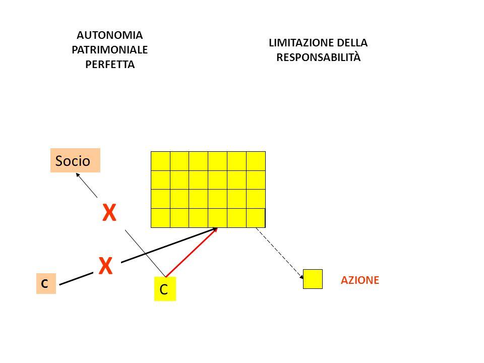 Socio C X AZIONE C X AUTONOMIA PATRIMONIALE PERFETTA LIMITAZIONE DELLA RESPONSABILITÀ