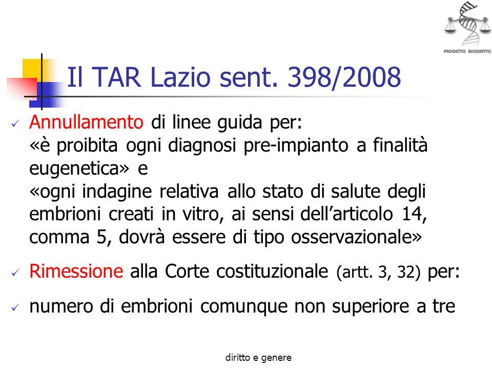 diritto e genere Il TAR Lazio sent. 398/2008 Annullamento di linee guida per: «è proibita ogni diagnosi pre-impianto a finalità eugenetica» e «ogni in