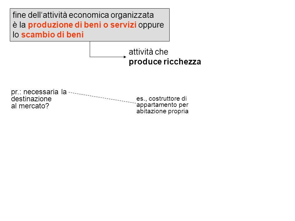 fine dellattività economica organizzata è la produzione di beni o servizi oppure lo scambio di beni attività che produce ricchezza pr.: necessaria la