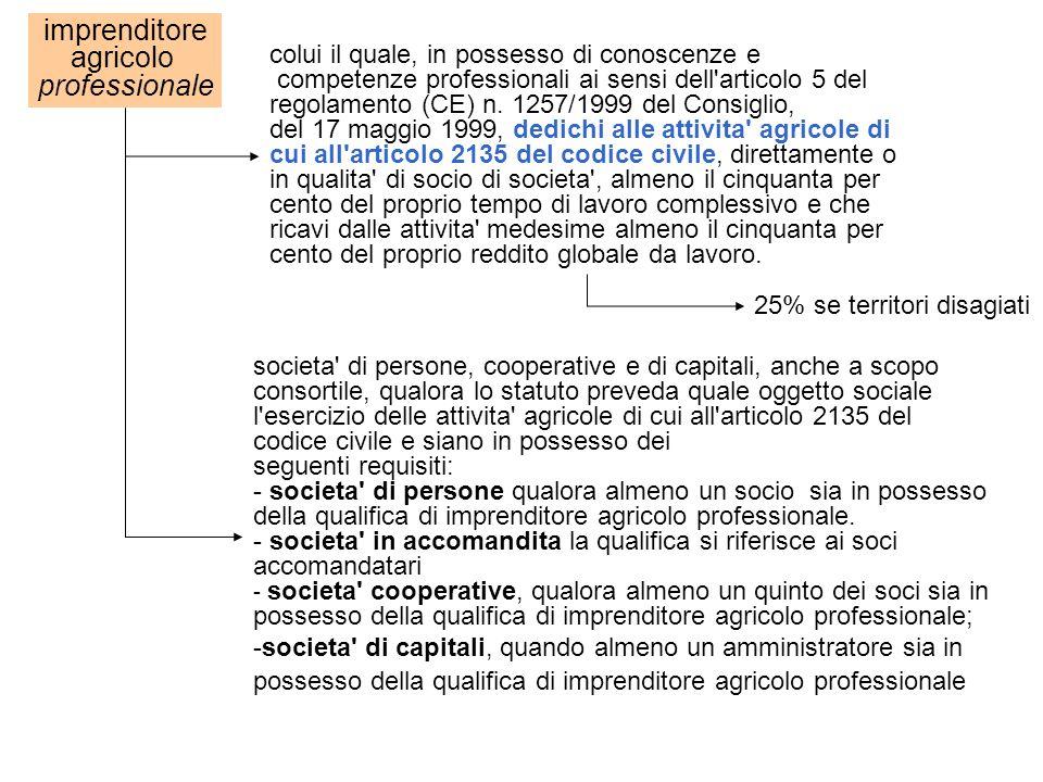 imprenditore agricolo professionale colui il quale, in possesso di conoscenze e competenze professionali ai sensi dell'articolo 5 del regolamento (CE)
