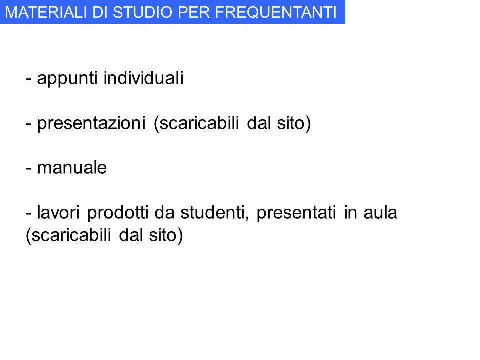 - appunti individuali - presentazioni (scaricabili dal sito) - manuale - lavori prodotti da studenti, presentati in aula (scaricabili dal sito) MATERI