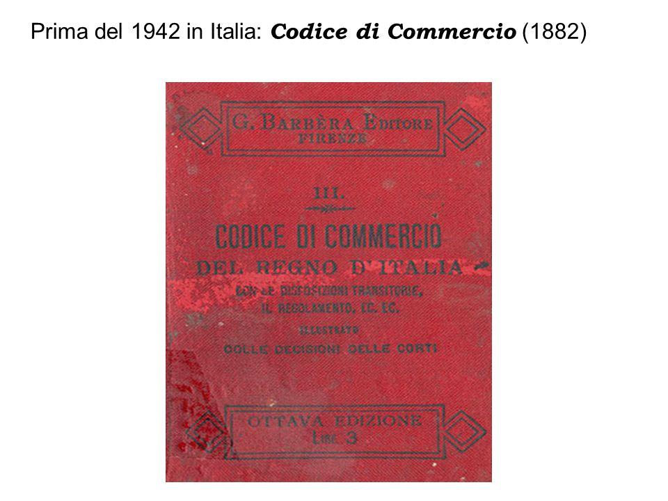 Prima del 1942 in Italia: Codice di Commercio (1882)