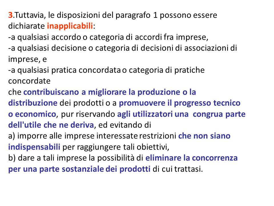 3.Tuttavia, le disposizioni del paragrafo 1 possono essere dichiarate inapplicabili: -a qualsiasi accordo o categoria di accordi fra imprese, -a quals