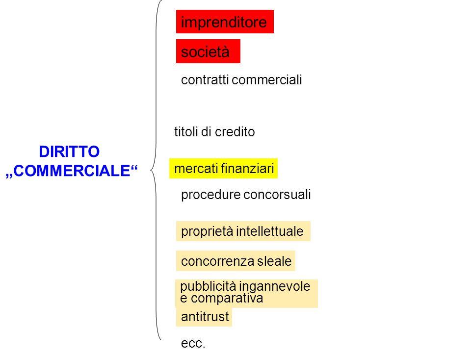 DIRITTO COMMERCIALE imprenditore società contratti commerciali titoli di credito mercati finanziari procedure concorsuali proprietà intellettuale conc