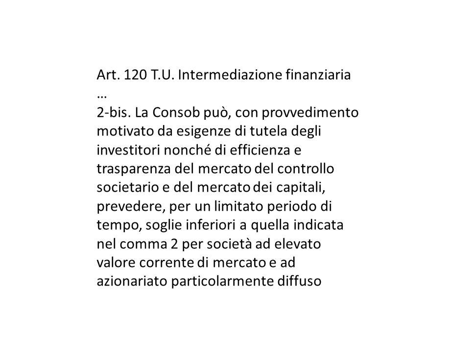Art.120 T.U. Intermediazione finanziaria … 2-bis.