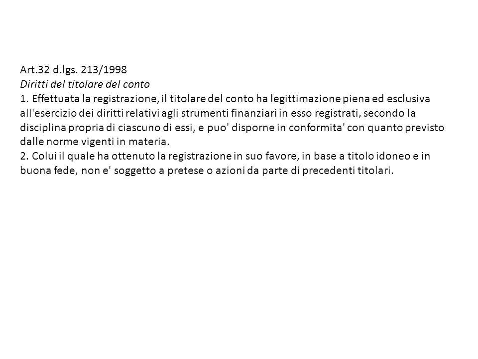 Art.32 d.lgs.213/1998 Diritti del titolare del conto 1.