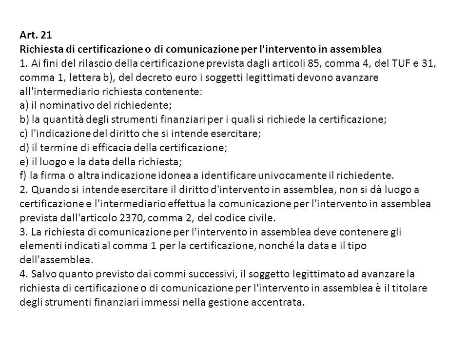 Art.21 Richiesta di certificazione o di comunicazione per l intervento in assemblea 1.