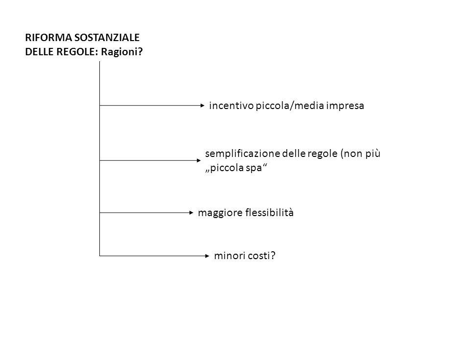 RIFORMA SOSTANZIALE DELLE REGOLE: Ragioni.