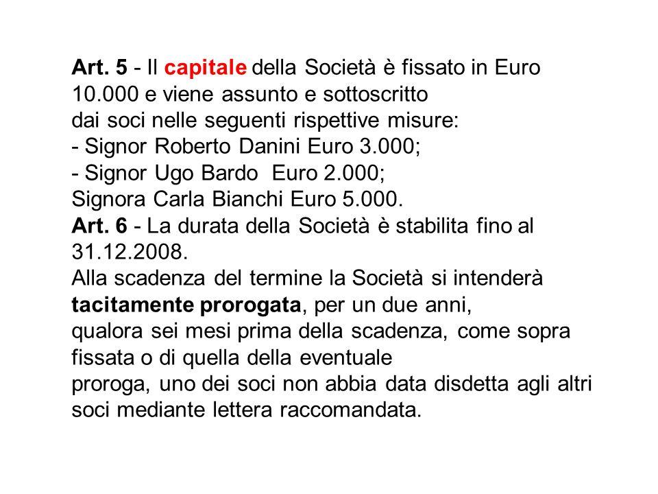 Art. 5 - Il capitale della Società è fissato in Euro 10.000 e viene assunto e sottoscritto dai soci nelle seguenti rispettive misure: - Signor Roberto