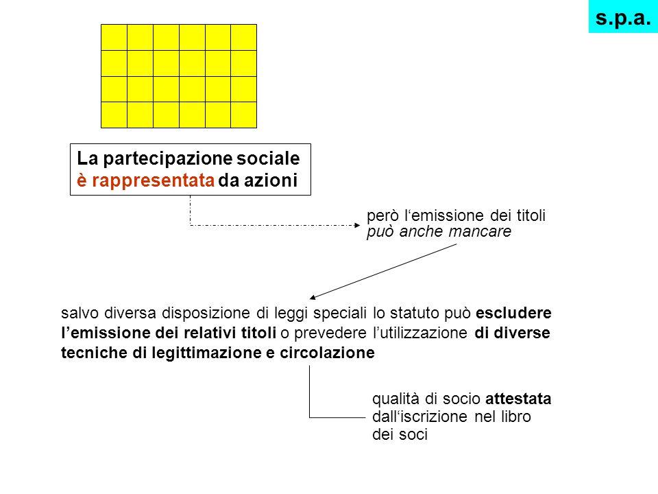 La partecipazione sociale è rappresentata da azioni però lemissione dei titoli può anche mancare salvo diversa disposizione di leggi speciali lo statu