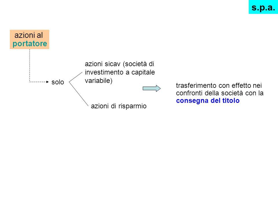 azioni al portatore solo azioni sicav (società di investimento a capitale variabile) azioni di risparmio trasferimento con effetto nei confronti della
