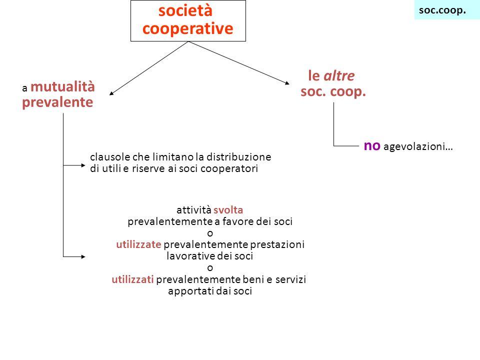 società cooperative a mutualità prevalente le altre soc.