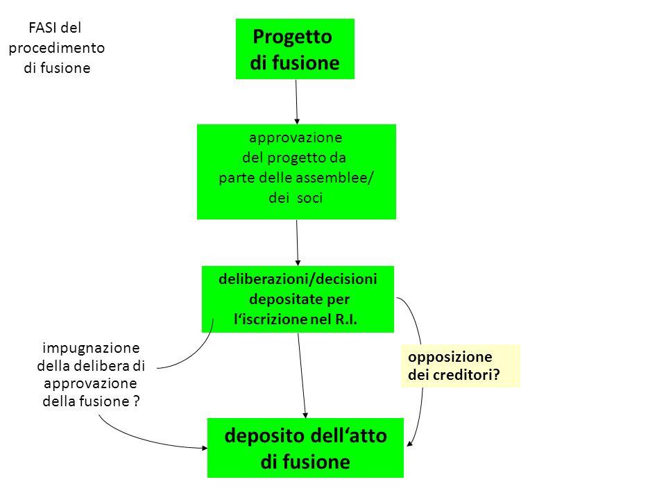 Progetto di fusione approvazione del progetto da parte delle assemblee/ dei soci deliberazioni/decisioni depositate per liscrizione nel R.I.