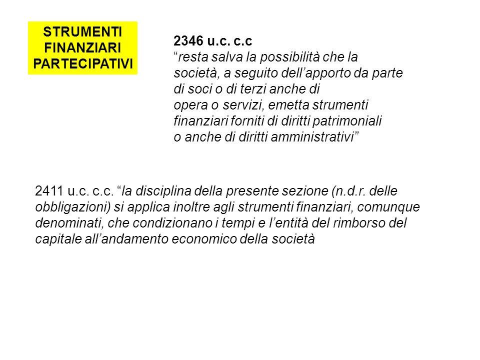 STRUMENTI FINANZIARI PARTECIPATIVI 2346 u.c.