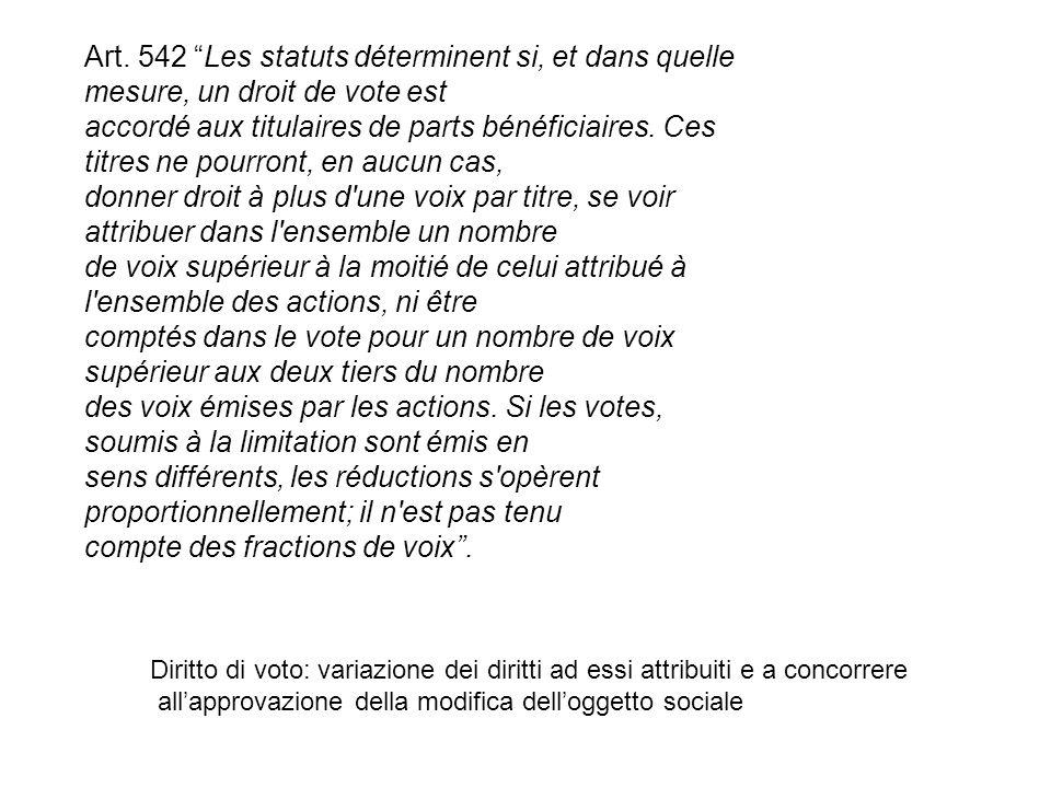 Art. 542 Les statuts déterminent si, et dans quelle mesure, un droit de vote est accordé aux titulaires de parts bénéficiaires. Ces titres ne pourront