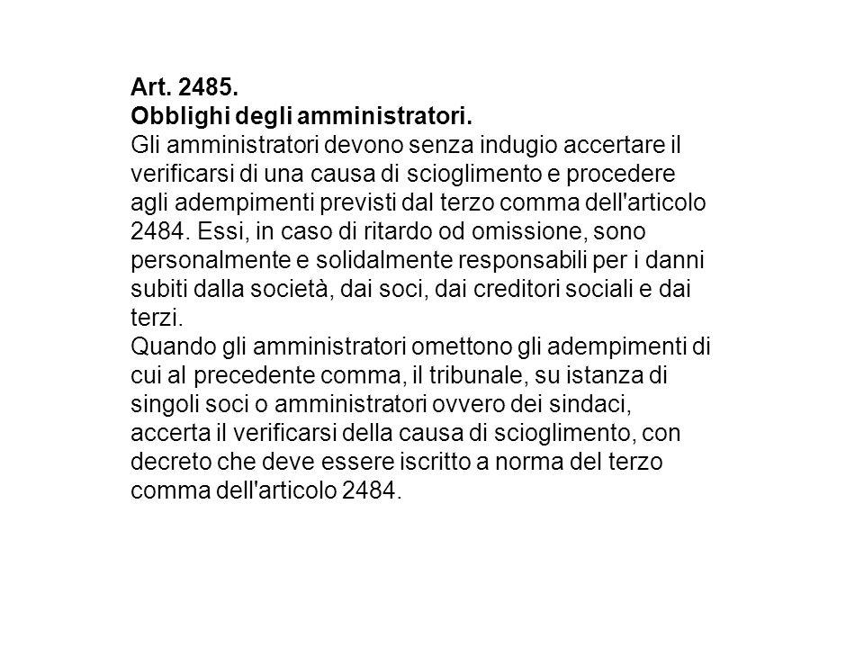 Art.2485. Obblighi degli amministratori.
