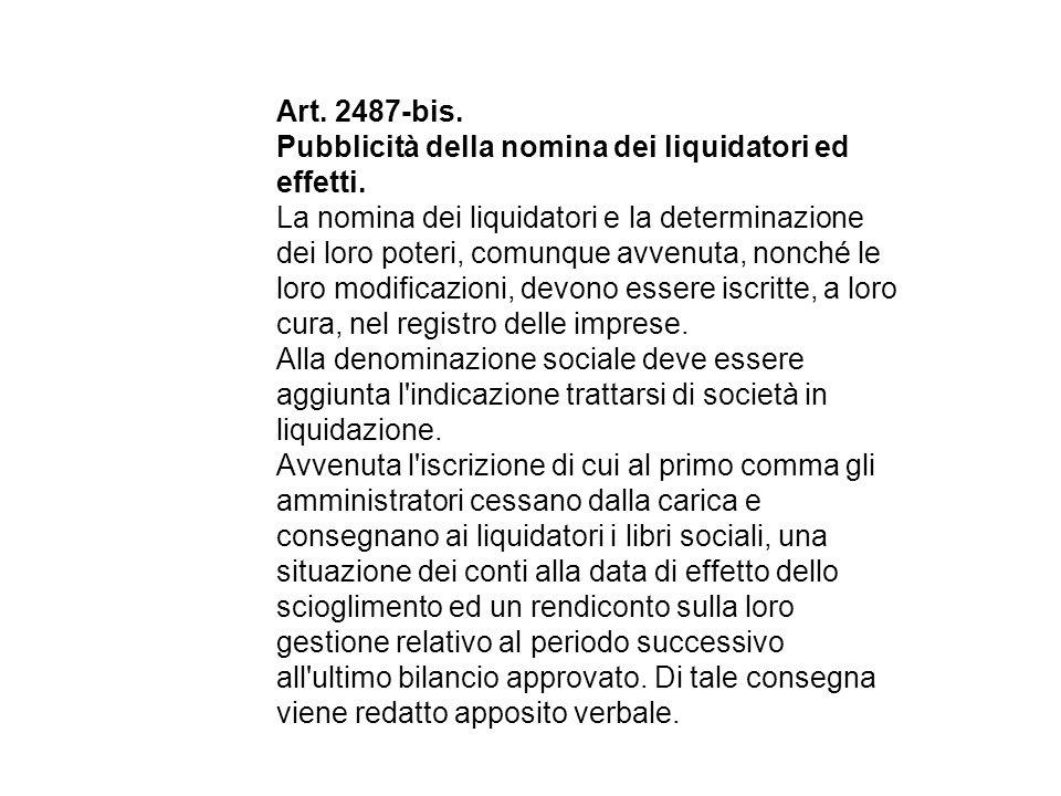 Art.2487-bis. Pubblicità della nomina dei liquidatori ed effetti.