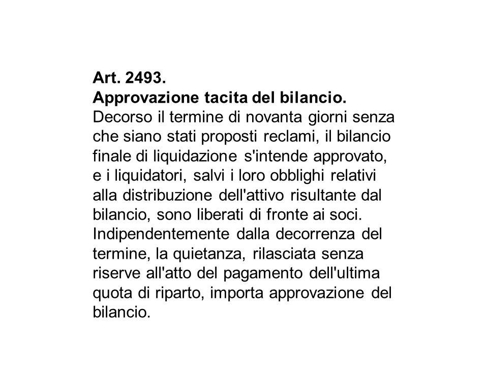 Art.2493. Approvazione tacita del bilancio.