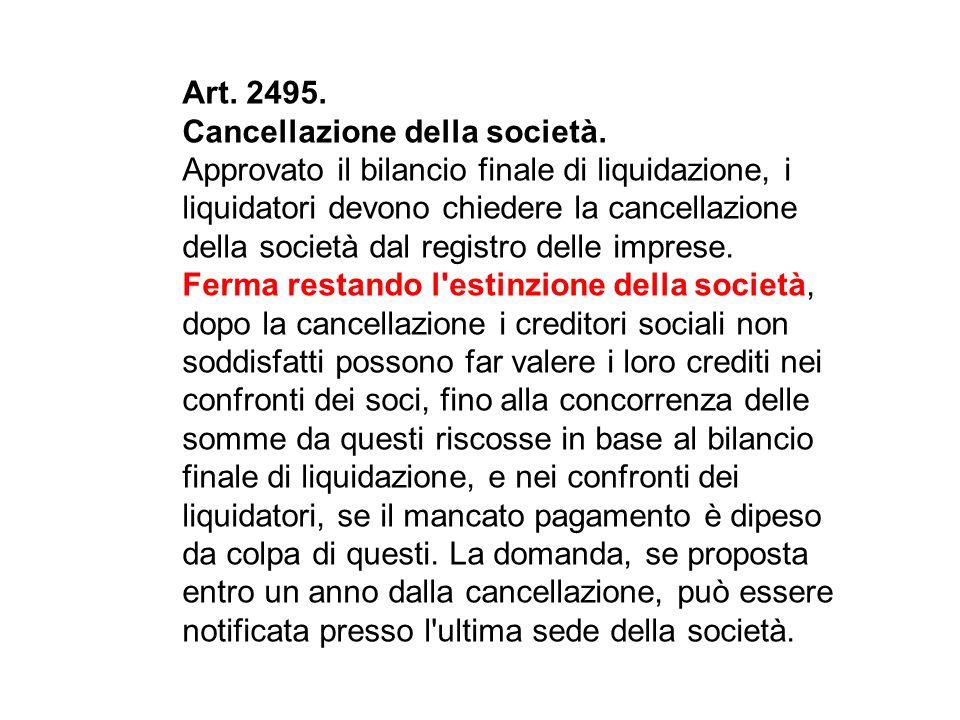Art.2495. Cancellazione della società.