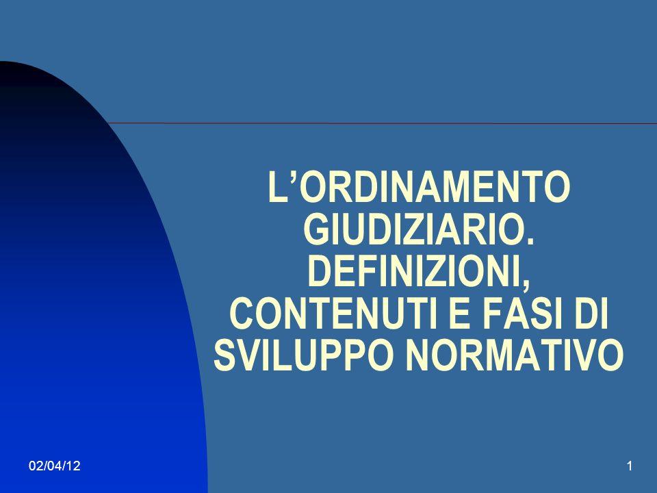 02/04/121 LORDINAMENTO GIUDIZIARIO. DEFINIZIONI, CONTENUTI E FASI DI SVILUPPO NORMATIVO