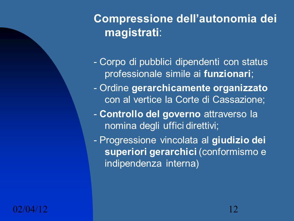 02/04/1212 Compressione dellautonomia dei magistrati: - Corpo di pubblici dipendenti con status professionale simile ai funzionari; - Ordine gerarchic