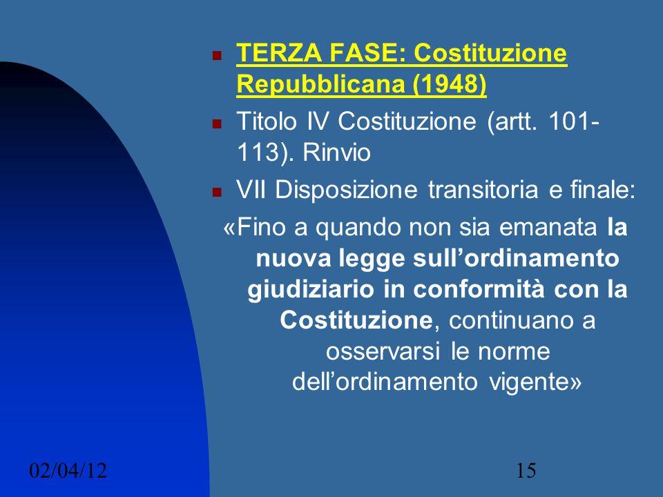 02/04/1215 TERZA FASE: Costituzione Repubblicana (1948) Titolo IV Costituzione (artt. 101- 113). Rinvio VII Disposizione transitoria e finale: «Fino a