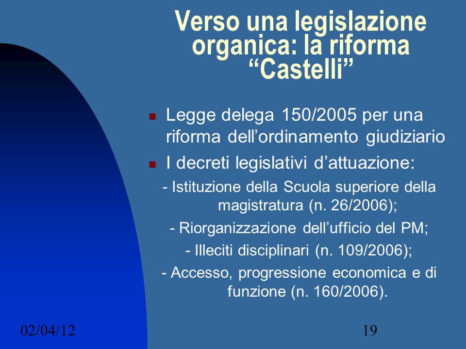 02/04/1219 Verso una legislazione organica: la riforma Castelli Legge delega 150/2005 per una riforma dellordinamento giudiziario I decreti legislativ
