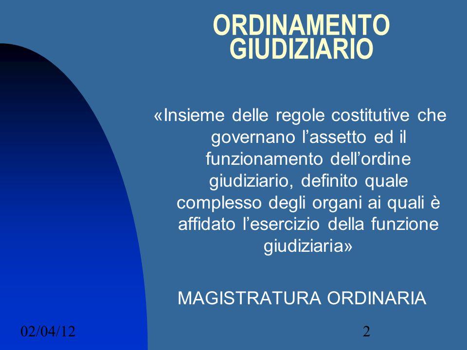 02/04/122 ORDINAMENTO GIUDIZIARIO «Insieme delle regole costitutive che governano lassetto ed il funzionamento dellordine giudiziario, definito quale