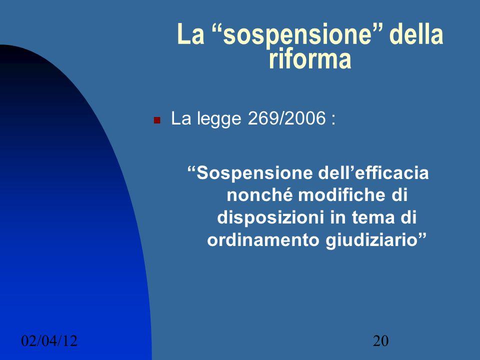 02/04/1220 La sospensione della riforma La legge 269/2006 : Sospensione dellefficacia nonché modifiche di disposizioni in tema di ordinamento giudizia