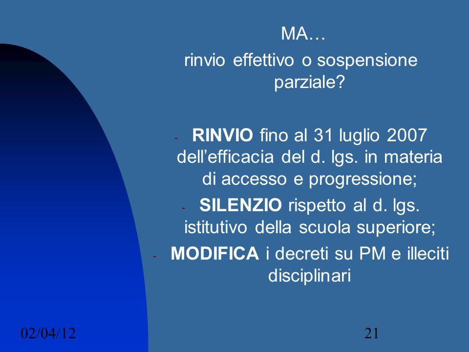 02/04/1221 MA… rinvio effettivo o sospensione parziale? - RINVIO fino al 31 luglio 2007 dellefficacia del d. lgs. in materia di accesso e progressione