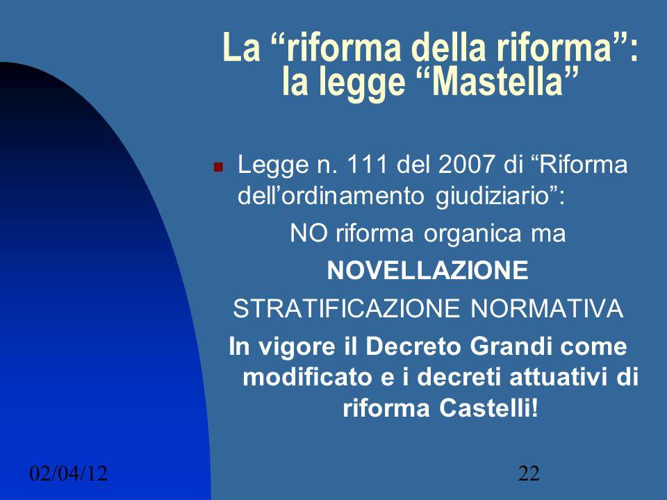 02/04/1222 La riforma della riforma: la legge Mastella Legge n. 111 del 2007 di Riforma dellordinamento giudiziario: NO riforma organica ma NOVELLAZIO