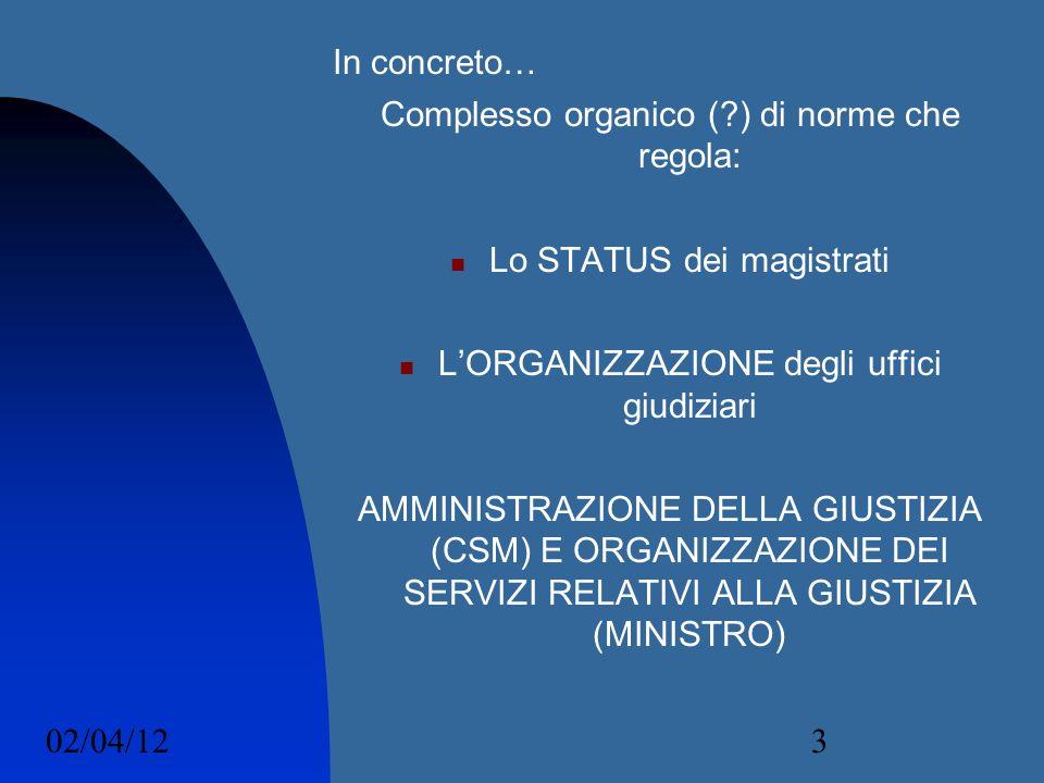02/04/123 In concreto… Complesso organico (?) di norme che regola: Lo STATUS dei magistrati LORGANIZZAZIONE degli uffici giudiziari AMMINISTRAZIONE DE