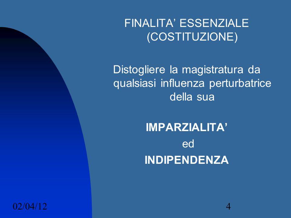 02/04/124 FINALITA ESSENZIALE (COSTITUZIONE) Distogliere la magistratura da qualsiasi influenza perturbatrice della sua IMPARZIALITA ed INDIPENDENZA