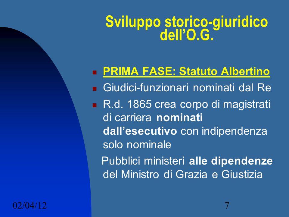 02/04/127 Sviluppo storico-giuridico dellO.G. PRIMA FASE: Statuto Albertino Giudici-funzionari nominati dal Re R.d. 1865 crea corpo di magistrati di c