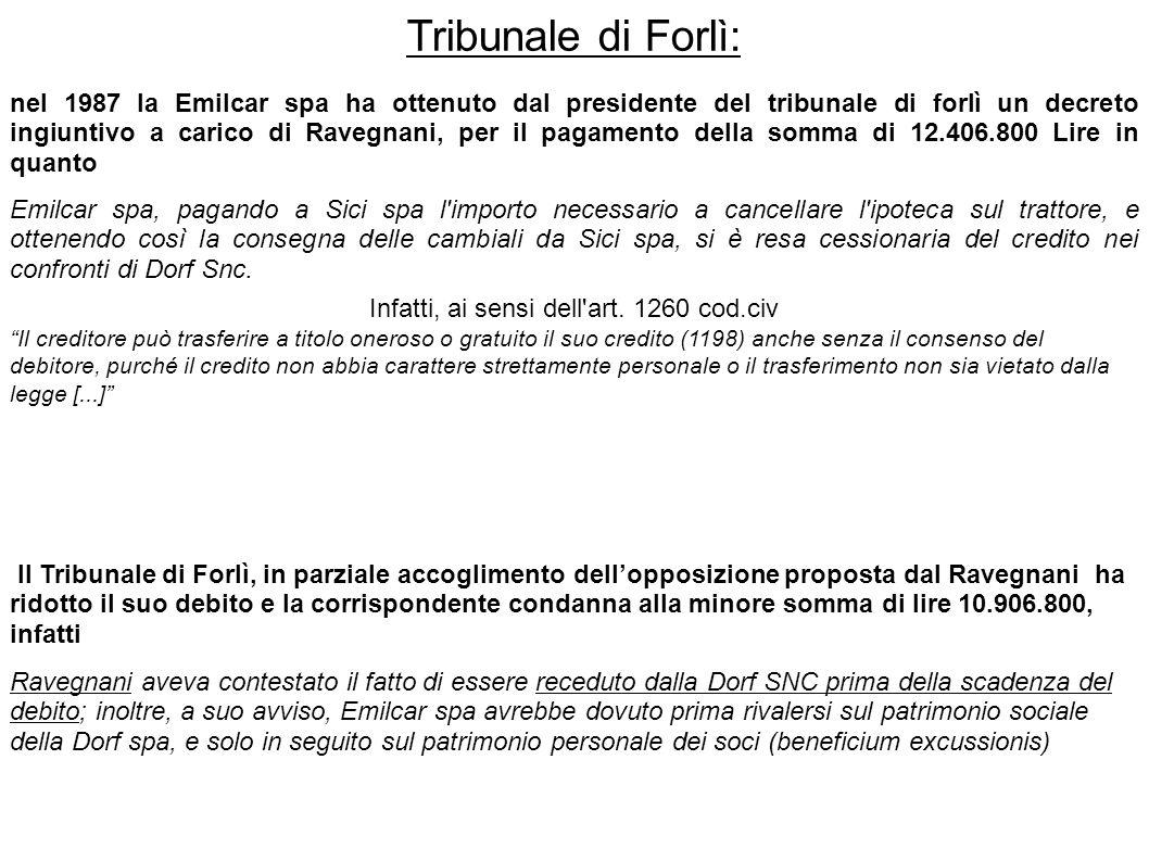 Tribunale di Forlì: nel 1987 la Emilcar spa ha ottenuto dal presidente del tribunale di forlì un decreto ingiuntivo a carico di Ravegnani, per il paga