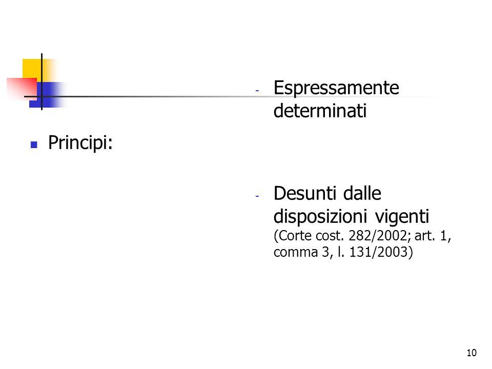 10 Principi: - Espressamente determinati - Desunti dalle disposizioni vigenti (Corte cost. 282/2002; art. 1, comma 3, l. 131/2003)