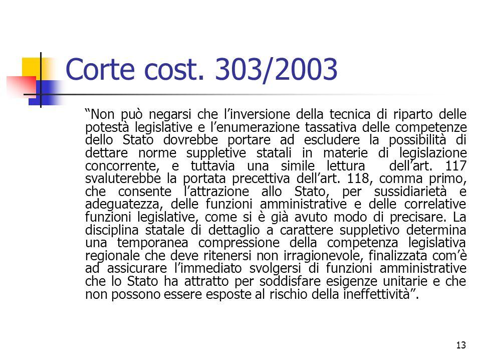 13 Corte cost. 303/2003 Non può negarsi che linversione della tecnica di riparto delle potestà legislative e lenumerazione tassativa delle competenze